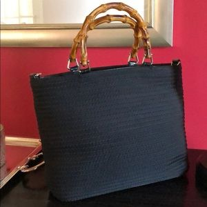 Gucci Black Canvas Satchel with Bamboo Handle